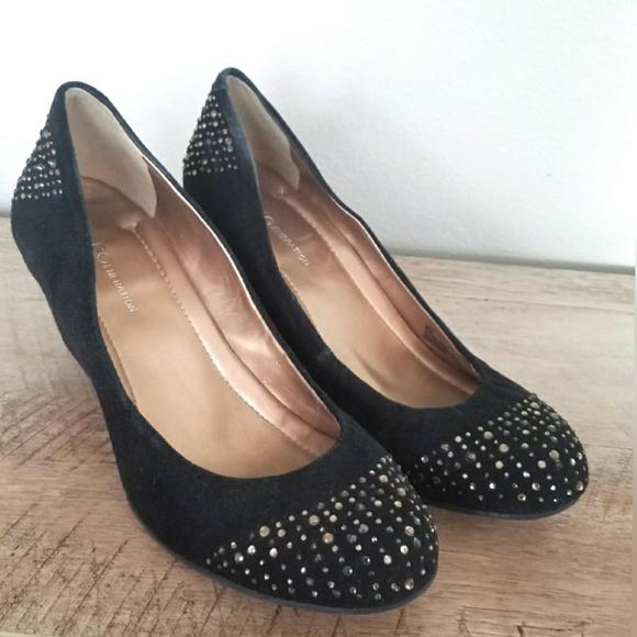 a1bc03599daf BCBG Shoes - BCBG Black Suede Rhinestone Wedges Size 8